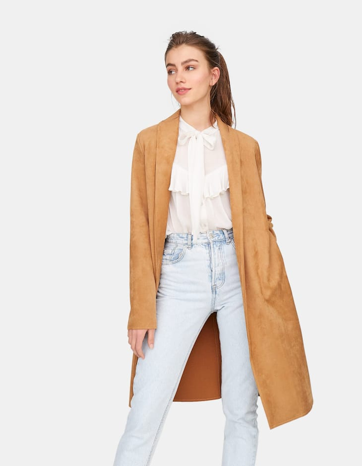 Open faux suede coat