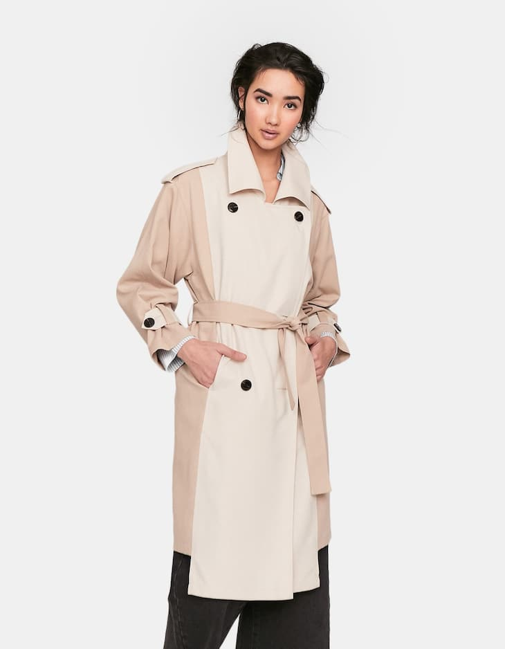 Two-tone trench coat