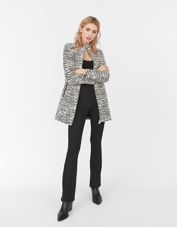 Zebra zip-up cutwork coat