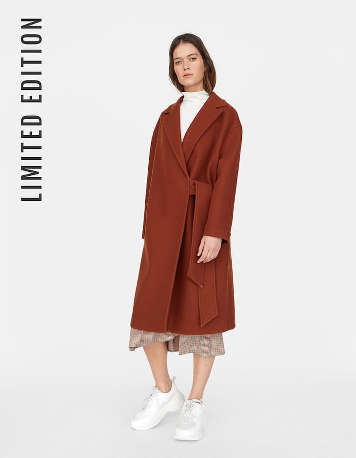 Limited Edition woolly coat with tied belt