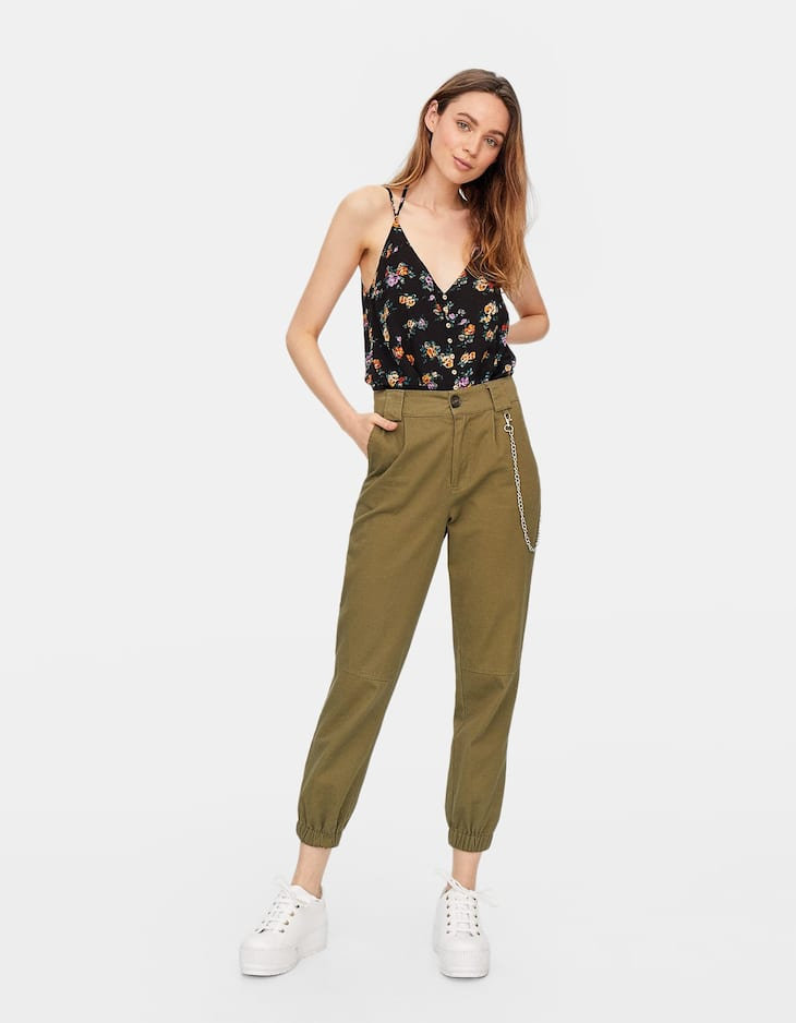 Printed button-up top with thin straps