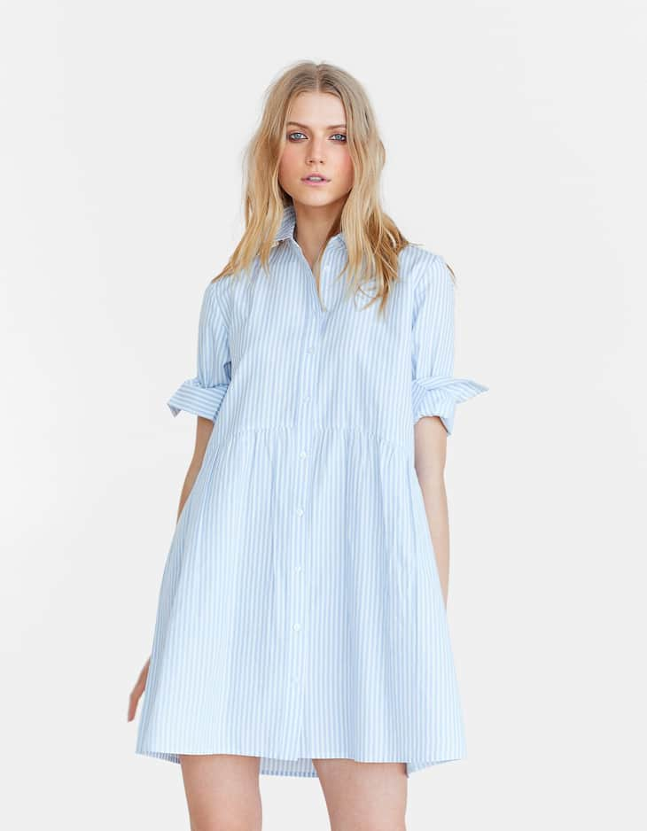 1fd7e38589e Blue stripe poplin shirt dress