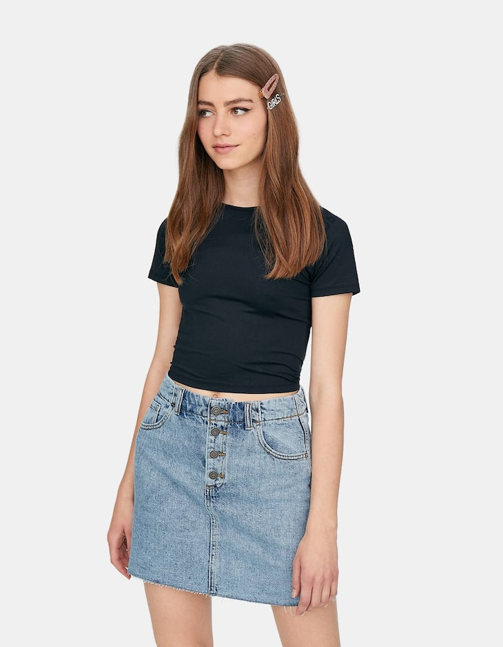 Stretch round neck T-shirt
