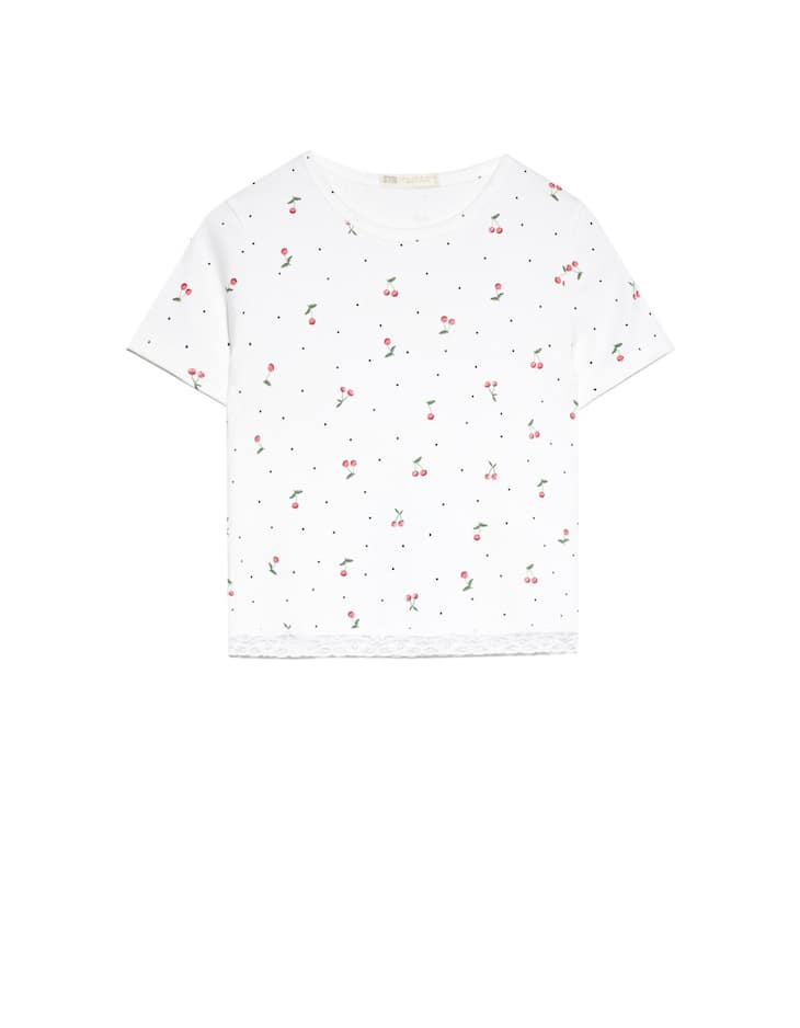 Stradivarius - Lace-trimmed Cropped T-shirt - 5