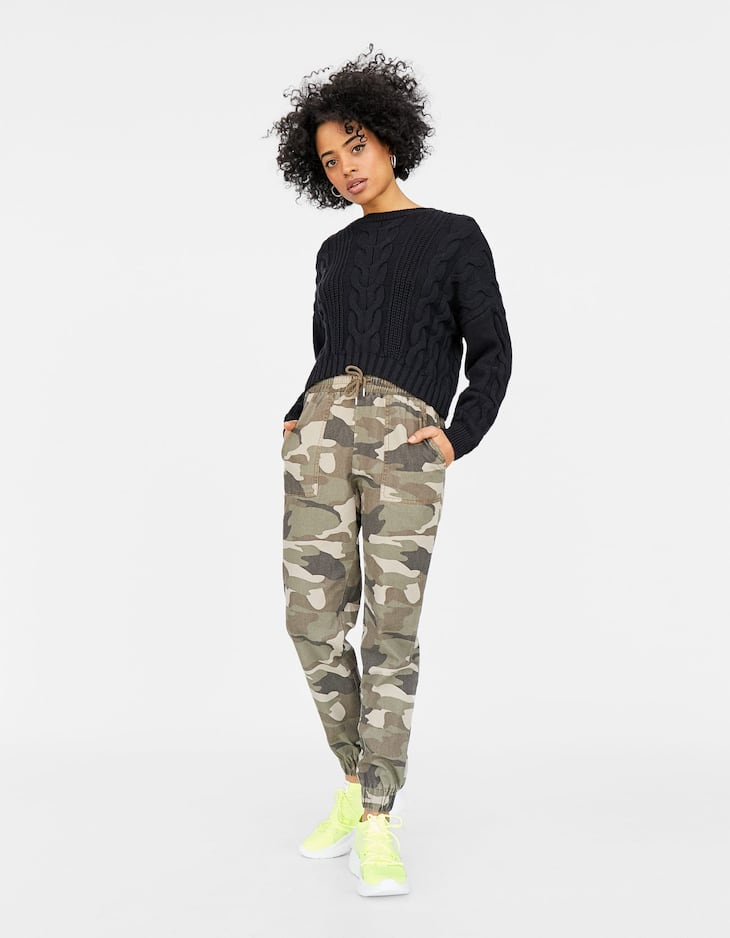 Camouflage print drawstring jogging trousers