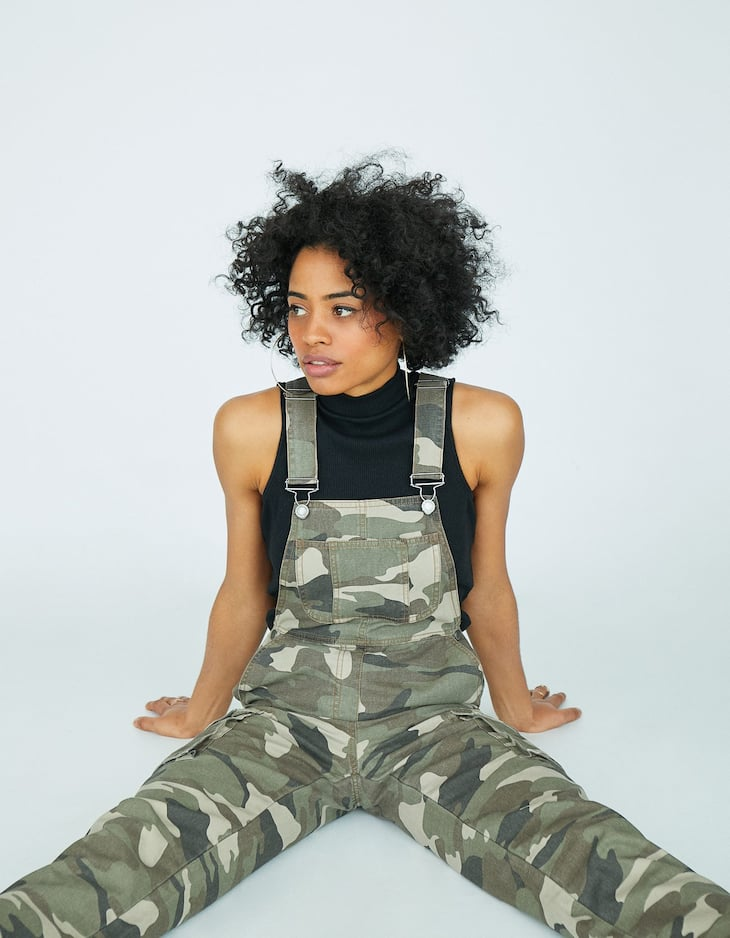Camouflage print cargo dungarees