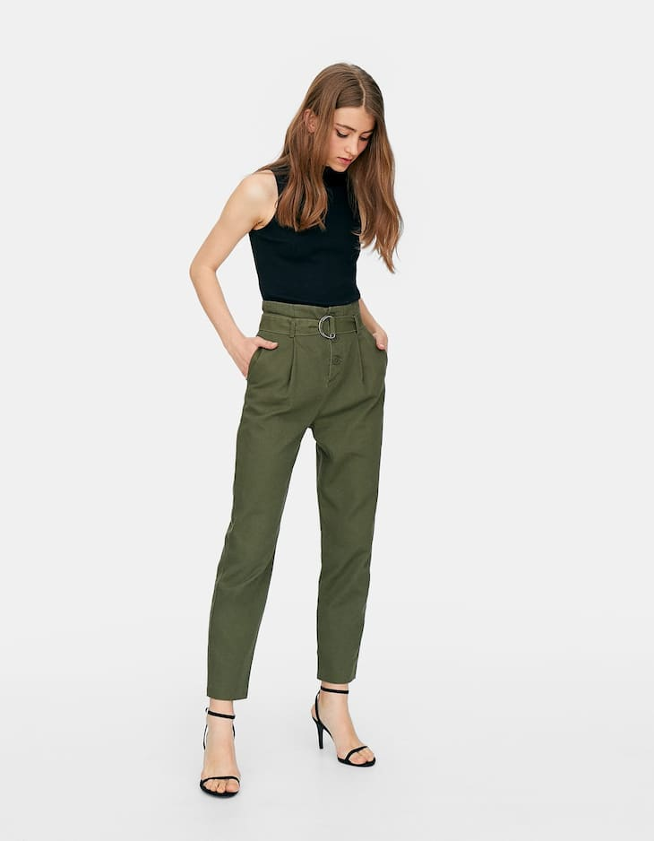 High waist trousers with a belt