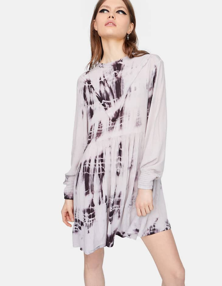 Tie-dye high neck dress