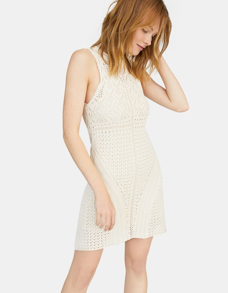 Chunky knit dress with die-cut