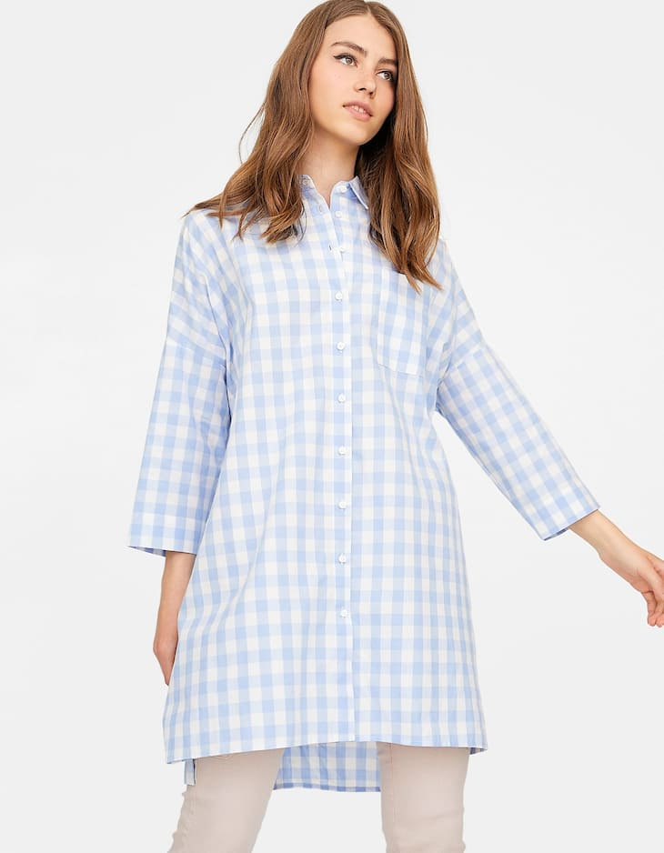 Oversized gingham shirt dress