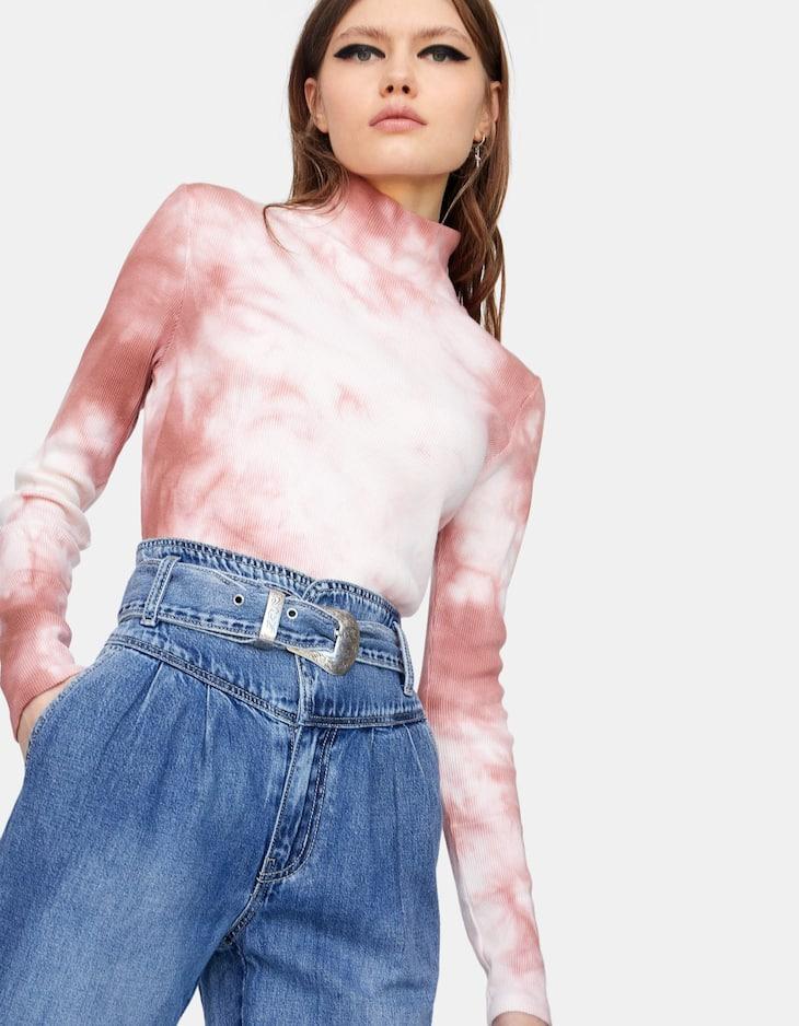 Paperbag-Jeans mit Gürtel im Cowboylook