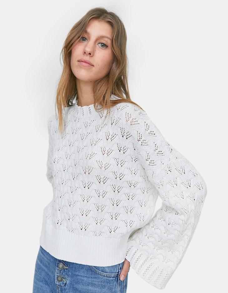 b9b0804f4ac7 Πλεκτό κοντό πουλόβερ με φαρδύ μανίκι