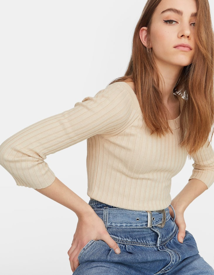 Open shoulder ribbed sweater