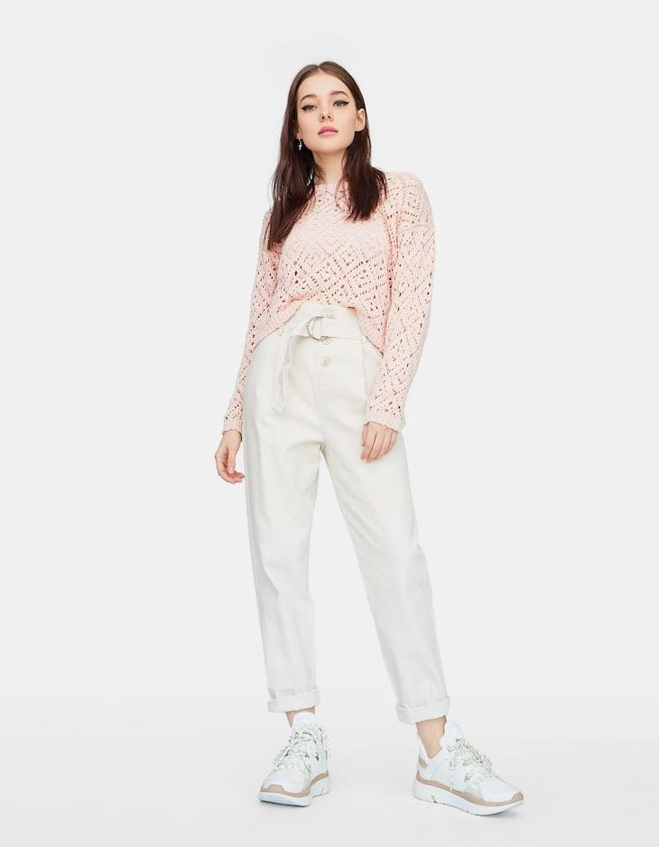 Diamond-patterned open knit sweater