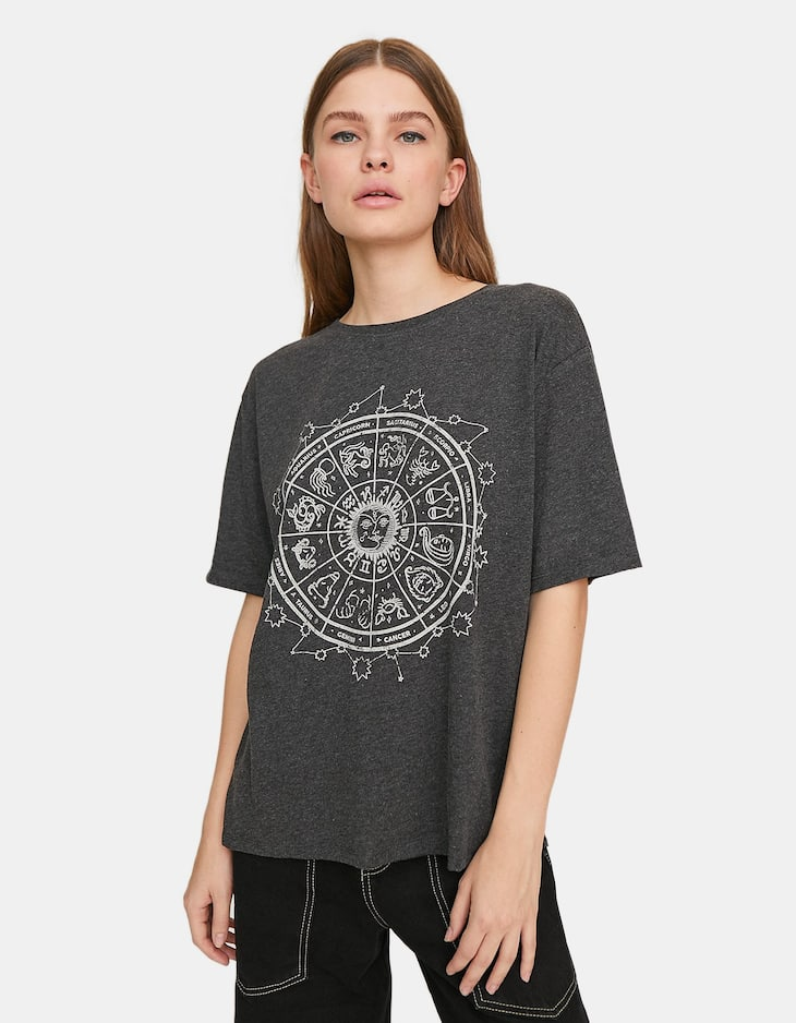 Short sleeve T-shirt with sun print