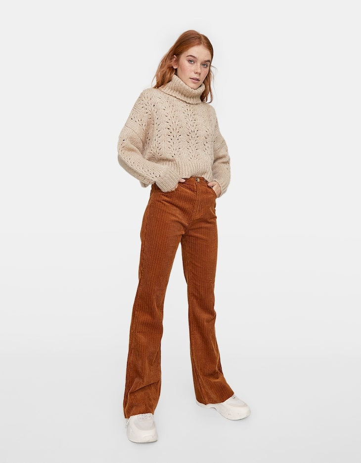 Thick Corduroy Flared Trousers by Stradivarius