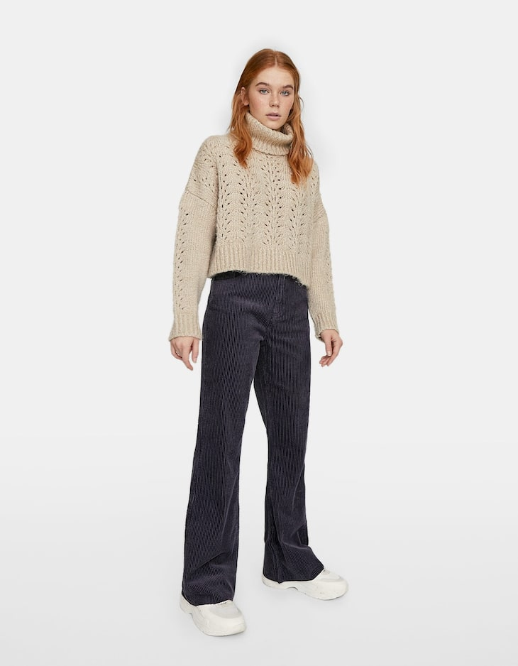 Thick corduroy flared trousers