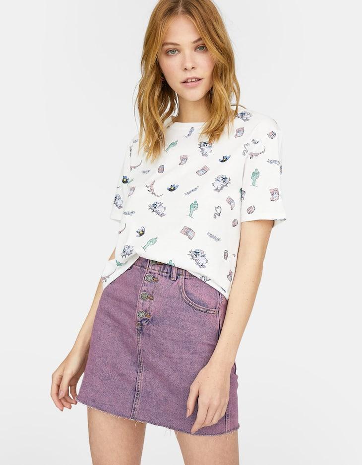 Falda mini denim color