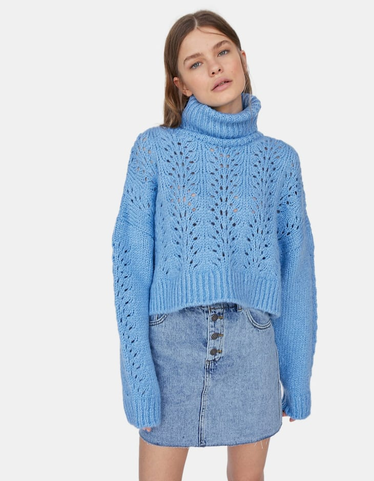 Cropped high neck open knit sweater