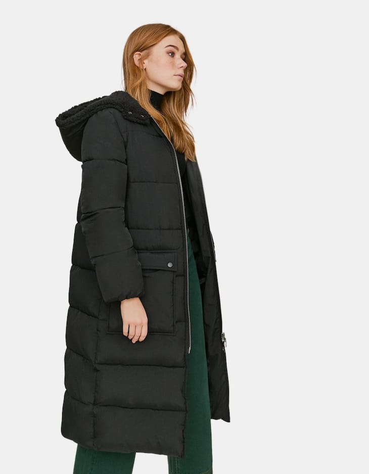 Long zip-up puffer anorak