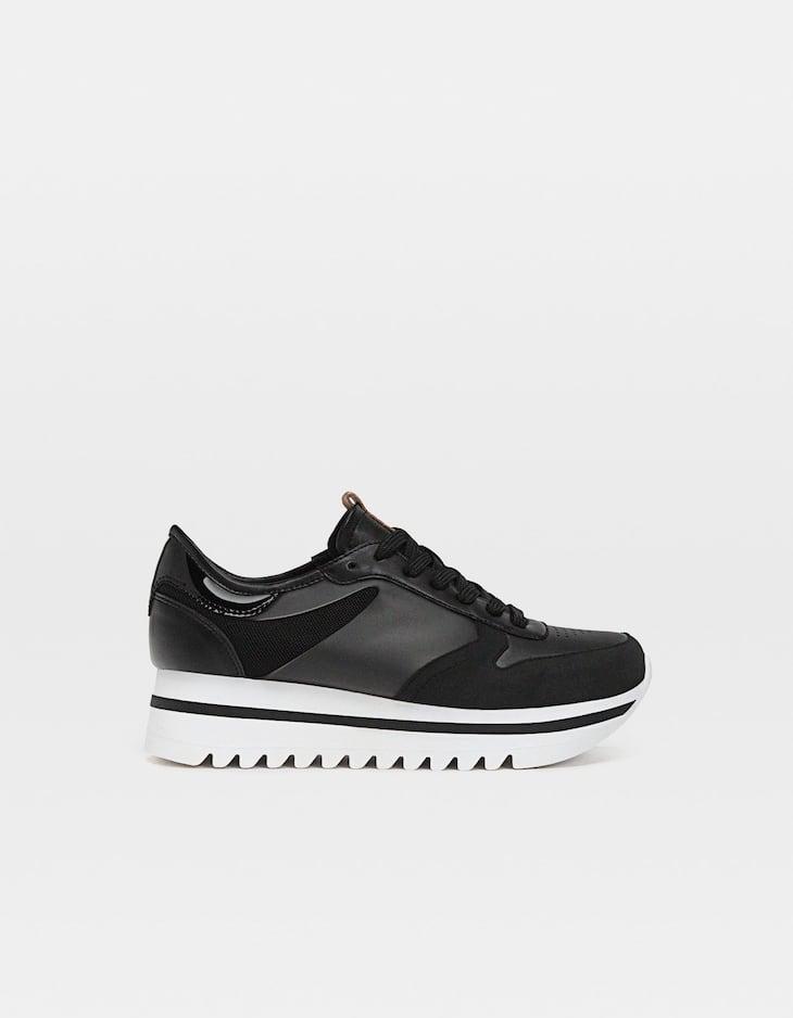 Zapatillas plataforma combinada negra