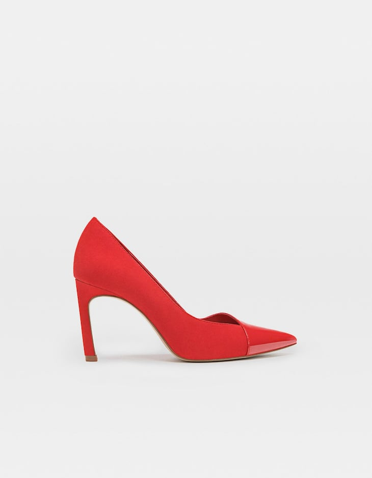 Contrast red patent finish stiletto heels