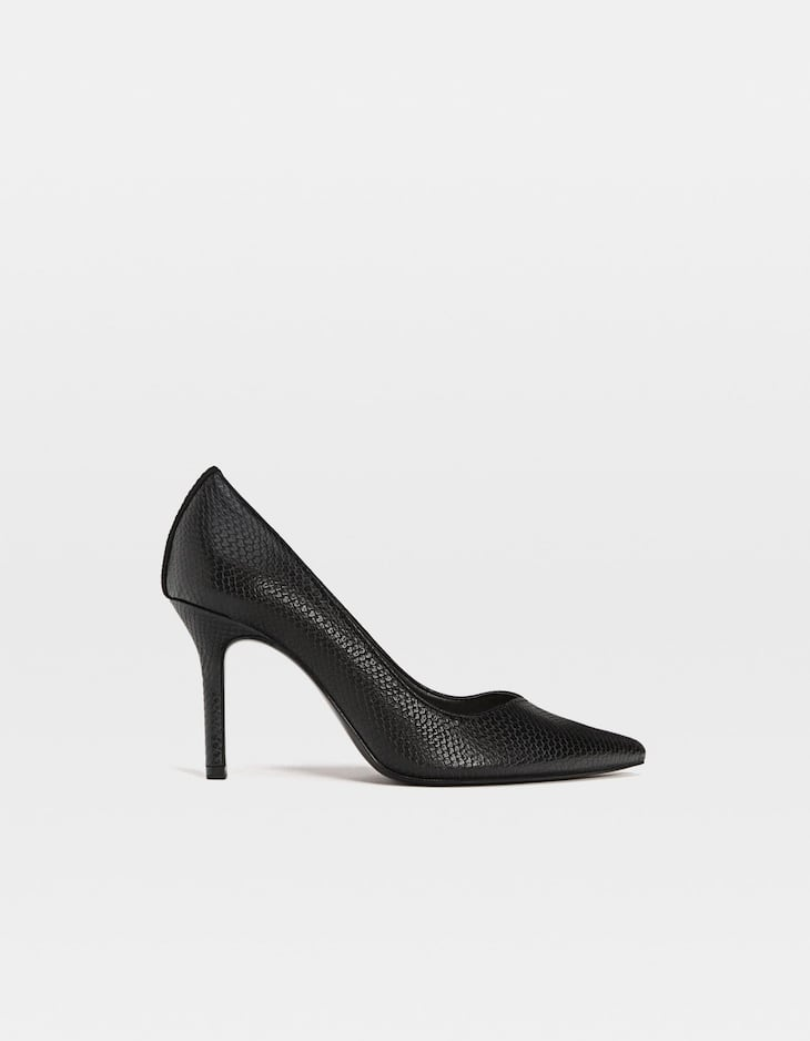 Black embossed stiletto heel court shoes