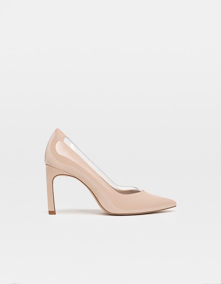 Beige vinyl stiletto heels