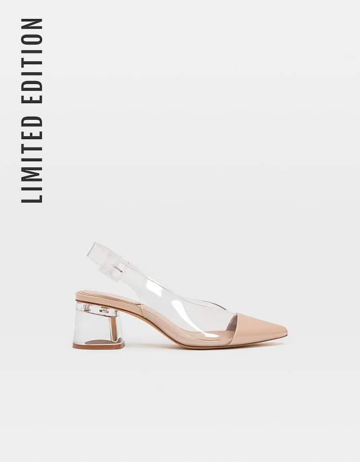 Туфли на среднем каблуке без задников и с вставками из винила