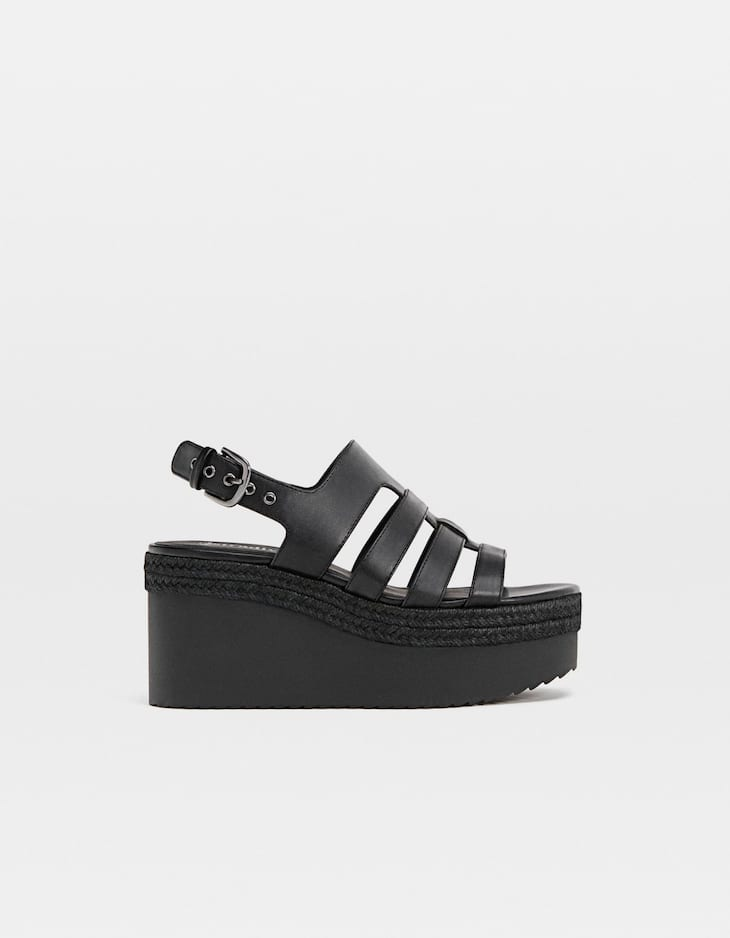 Wedge shoes with straps and buckle