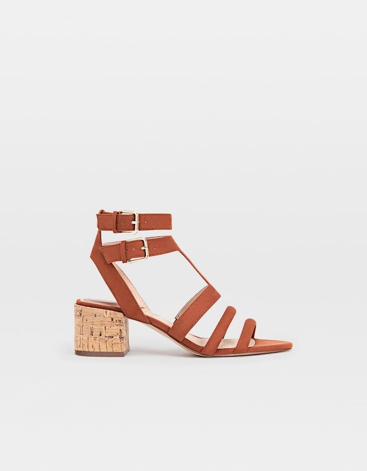 Cork heeled sandals