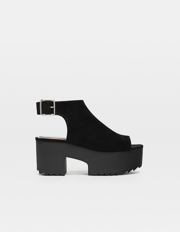 Black track sole sandals