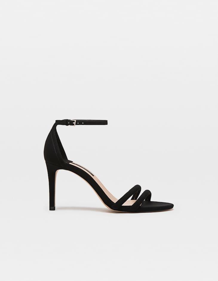 Black stiletto heel sandals