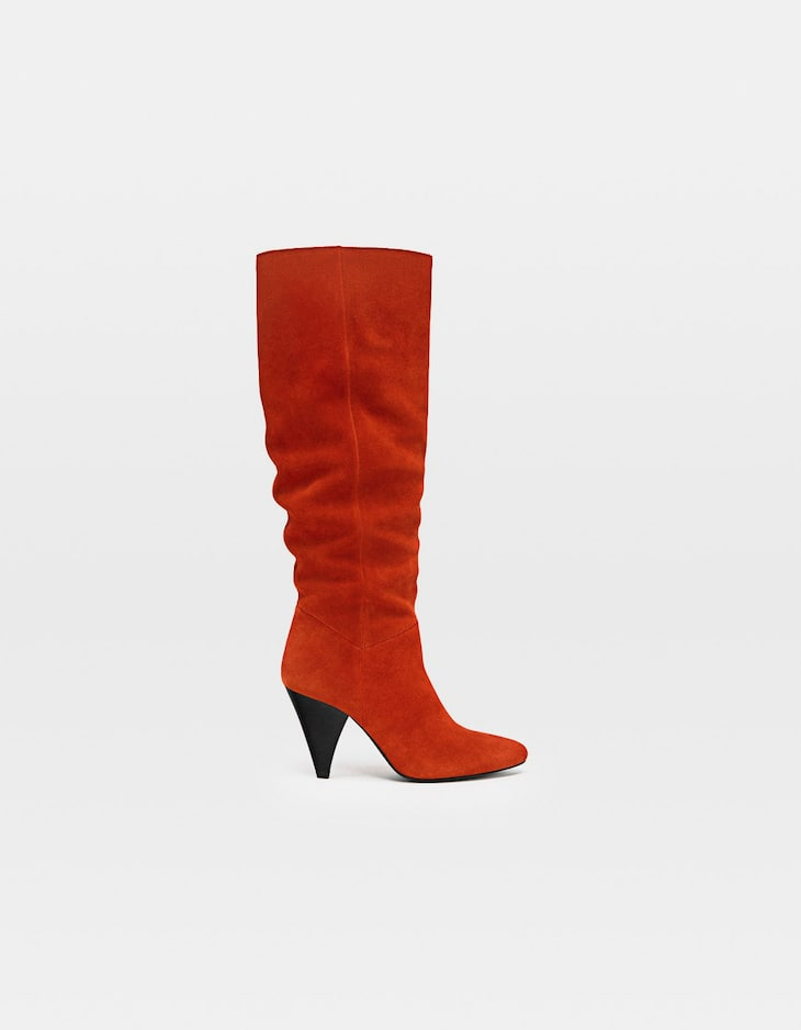 Leather high-heel knee high boots