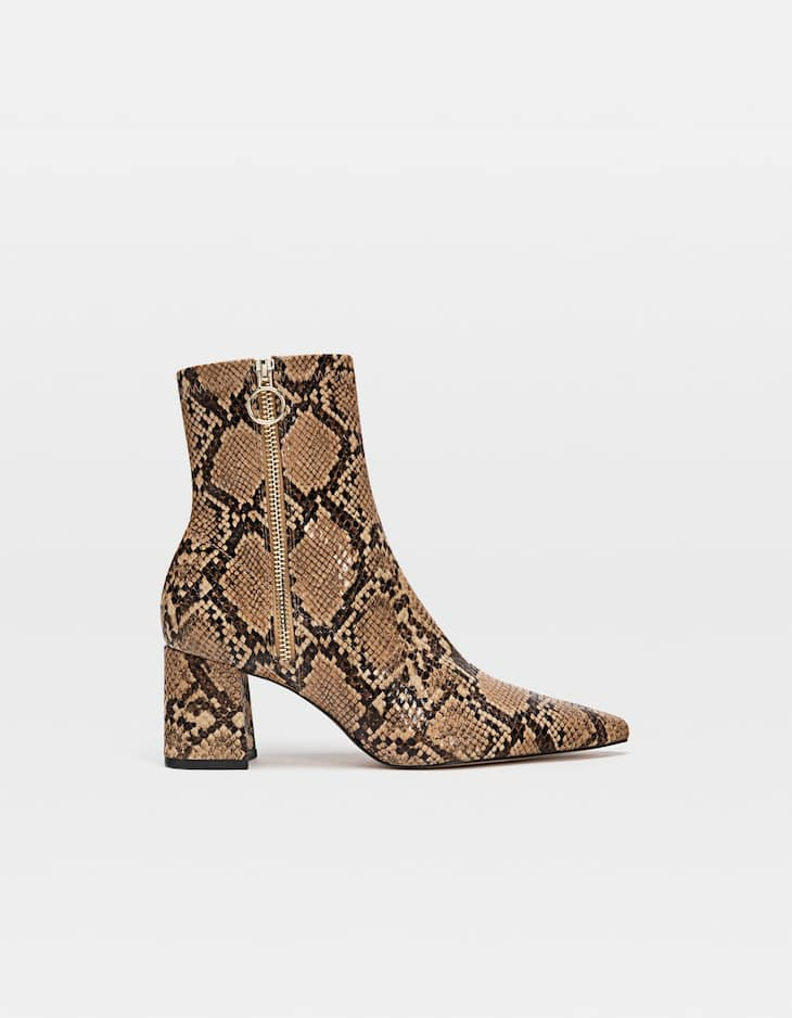4a81fc76065c Animal print high heel ankle boots - Flat sandals | Stradivarius Spain
