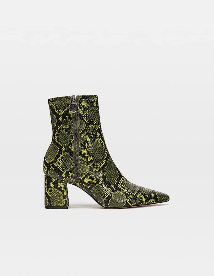 Neon animal print high heel ankle boots