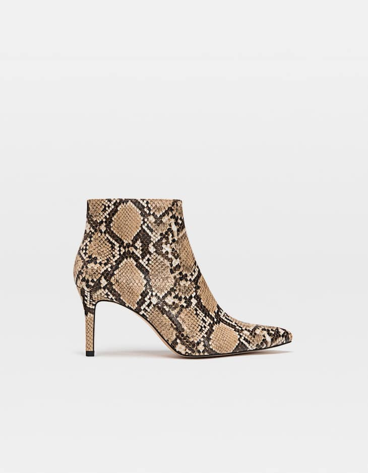 Animal print stiletto heel ankle boots