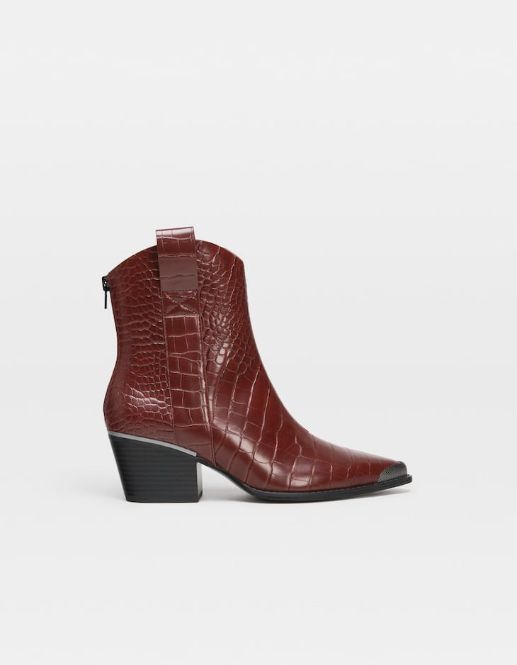Embossed maroon cowboy ankle boots