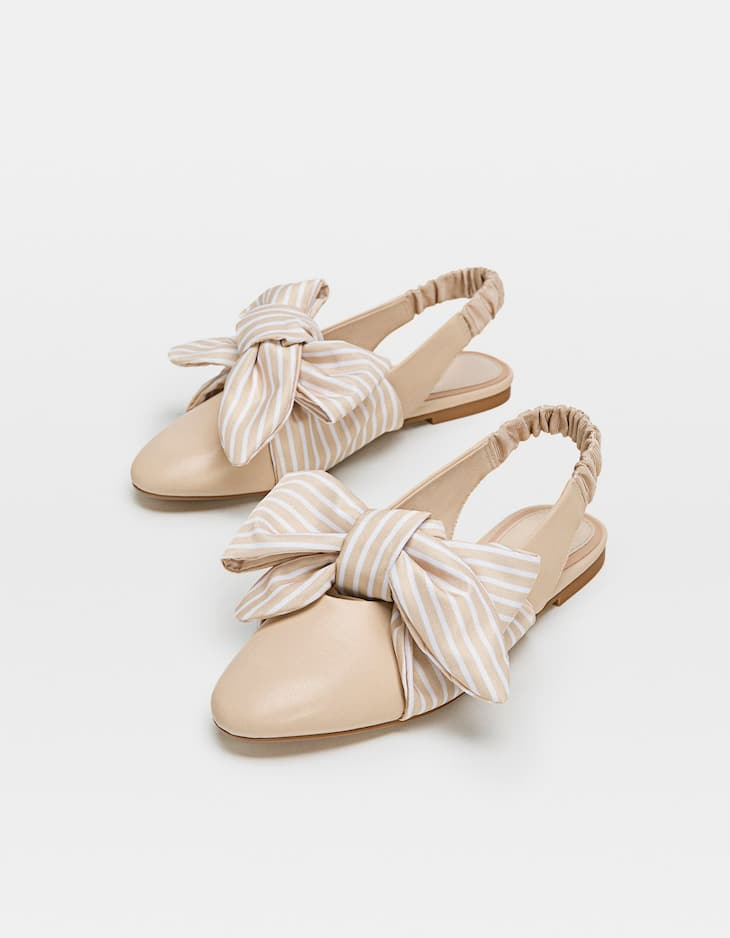 Striped slingback ballerinas with bow