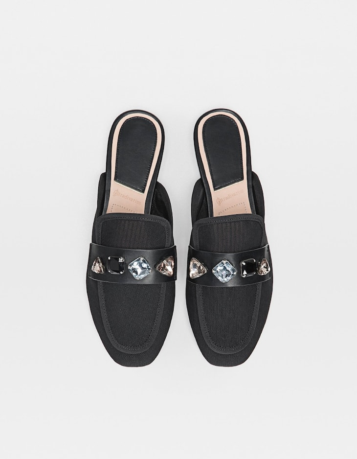Bejewelled mule loafers