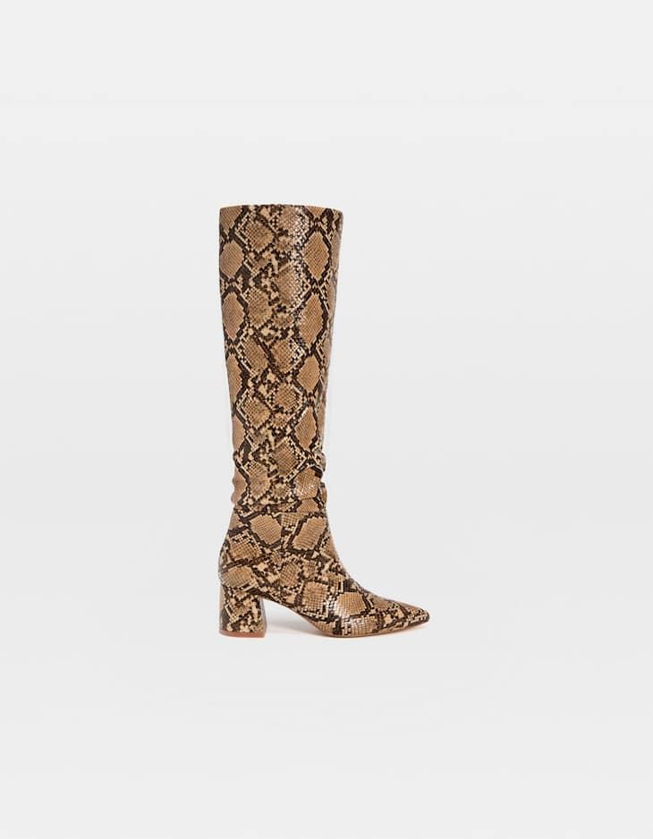 Animal print high heel boots