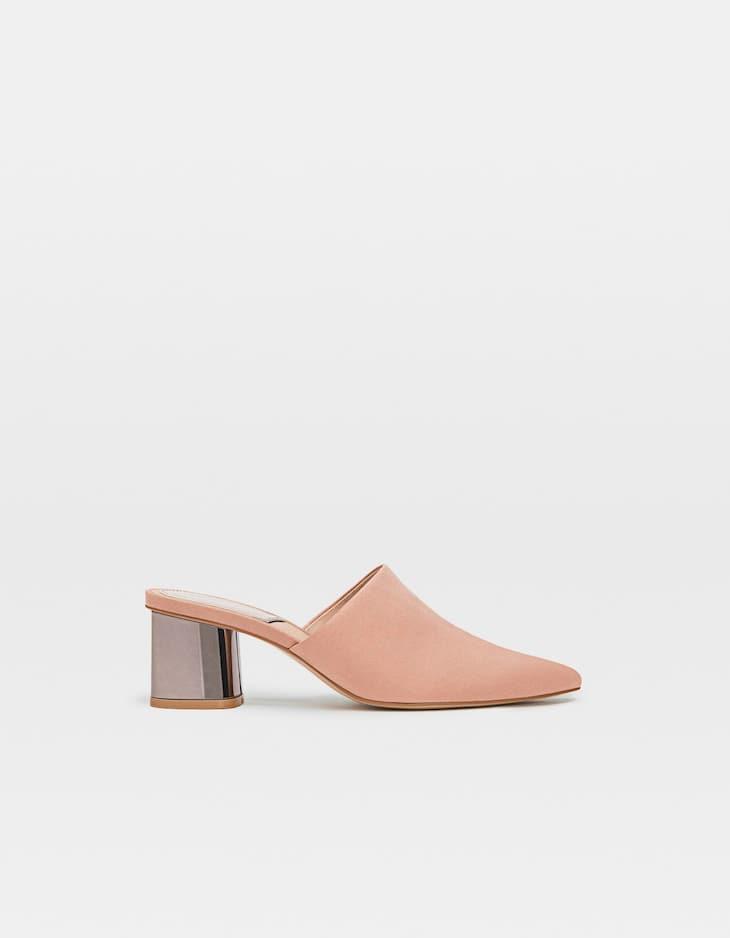 Бежевые туфли-мюли на каблуке
