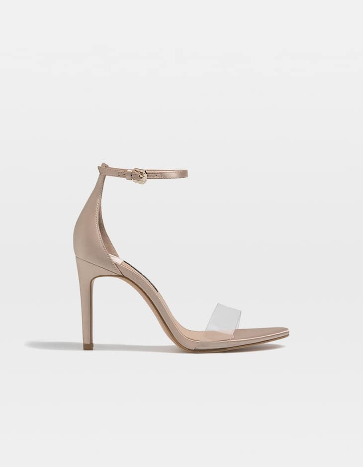 Nude vinyl high-heel sandals