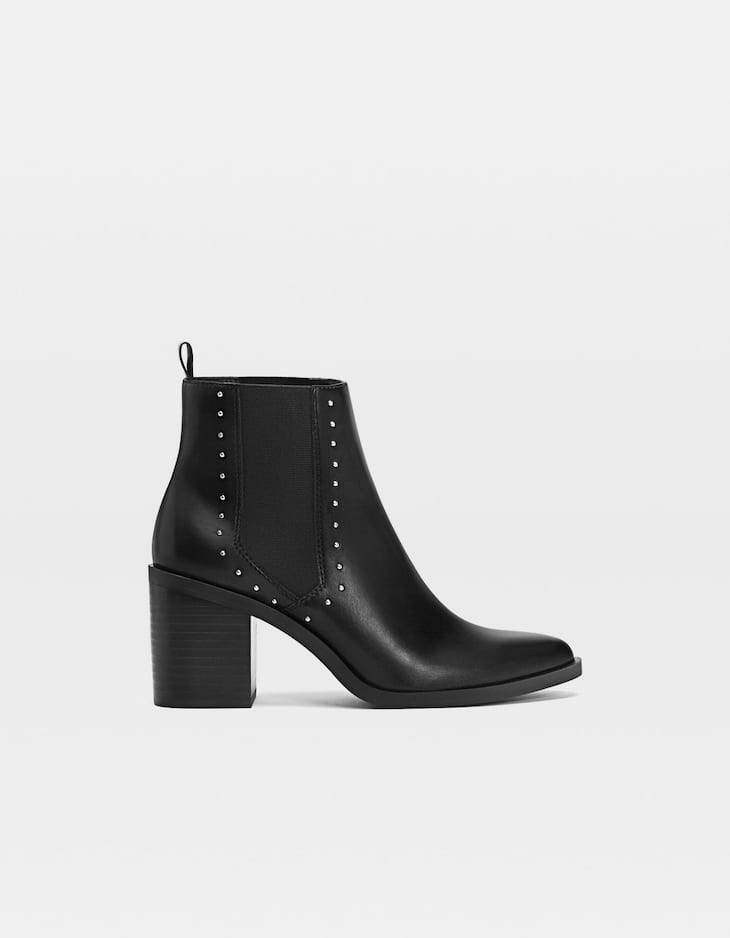 Black studded high-heel ankle boots