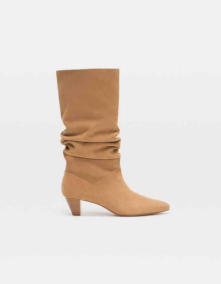 Sand-coloured gathered LEATHER heeled boots