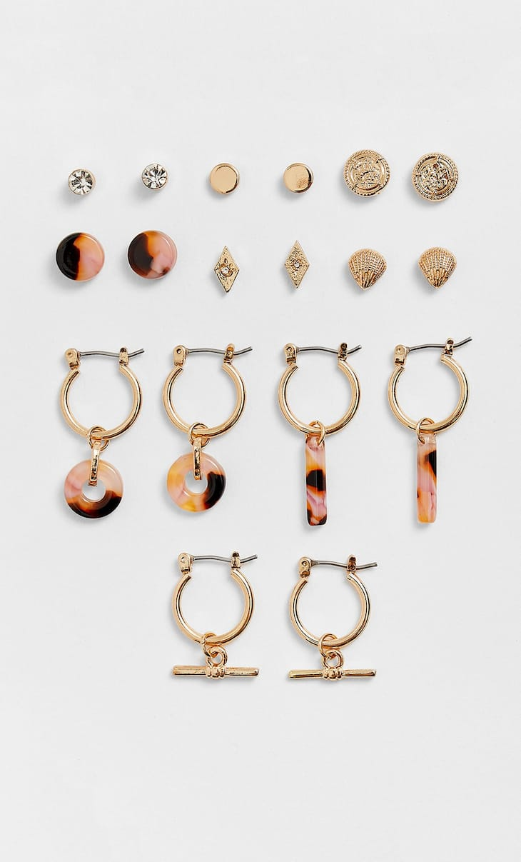STR set of 9 pairs of resin earrings