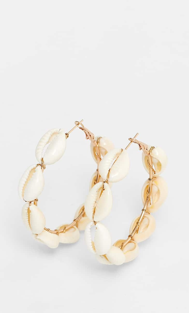 STR faux shell hoop earrings