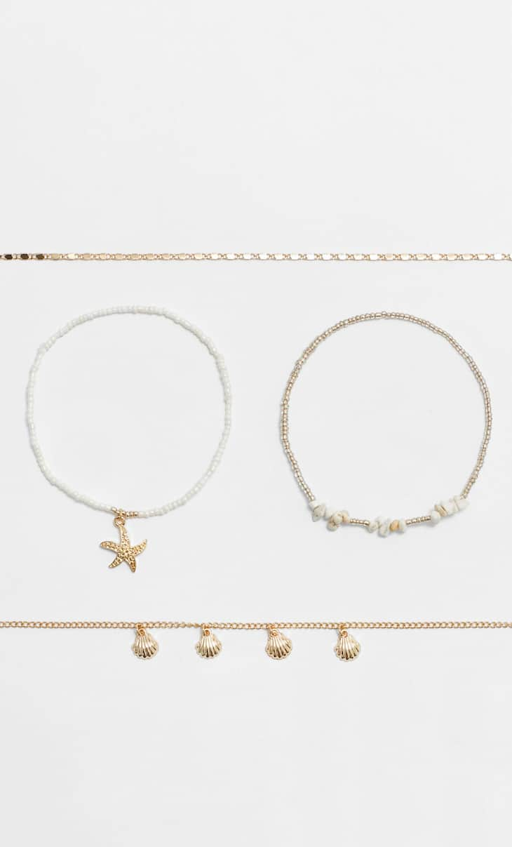 STR set of 4 beach anklets