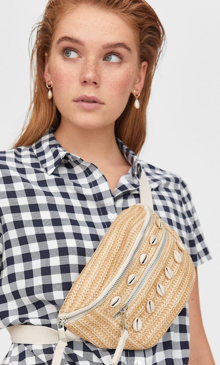 Raffia-effect belt bag
