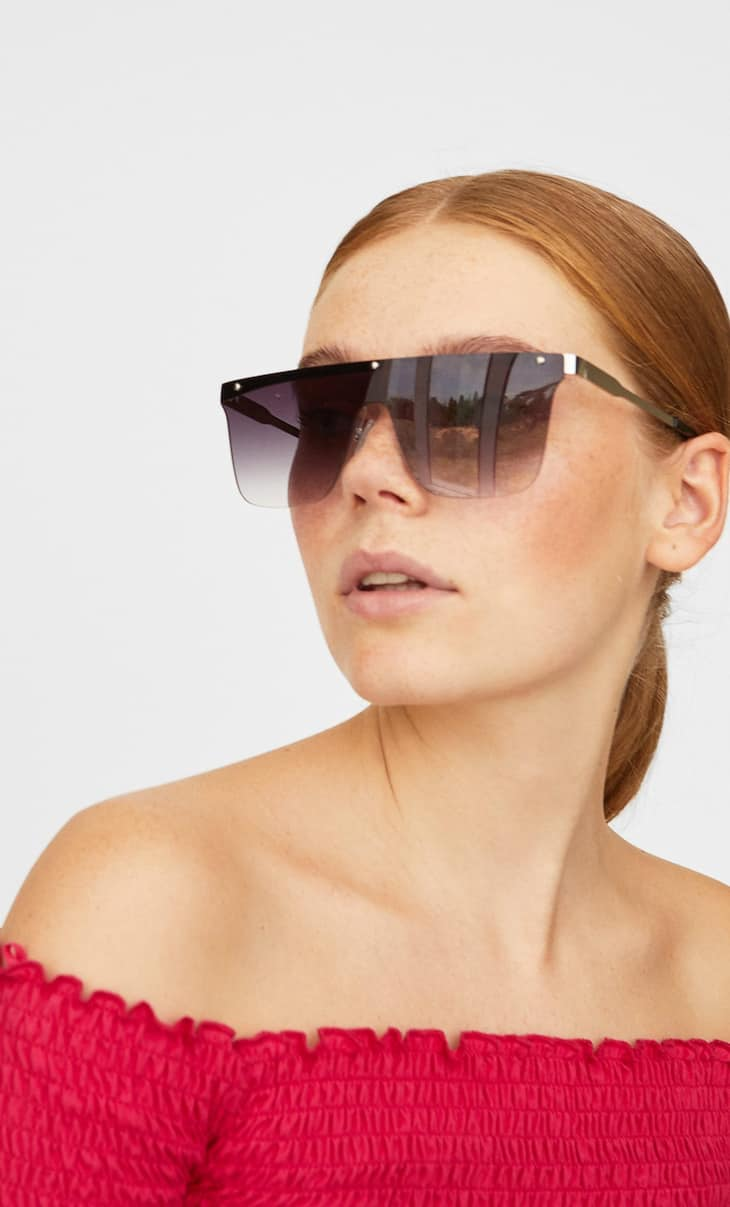 Rimless visor sunglasses